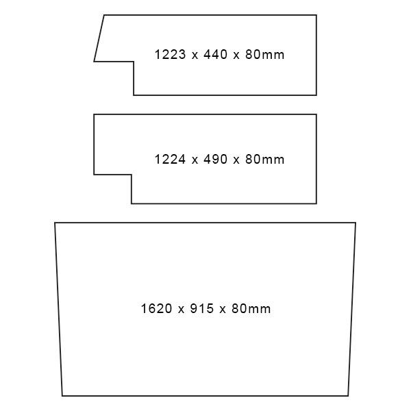 VW T25 3 Quarter Bed Foam - Mechanical Dimensions