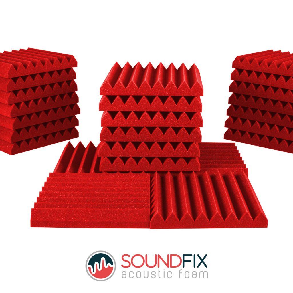 red acoustic foam panels