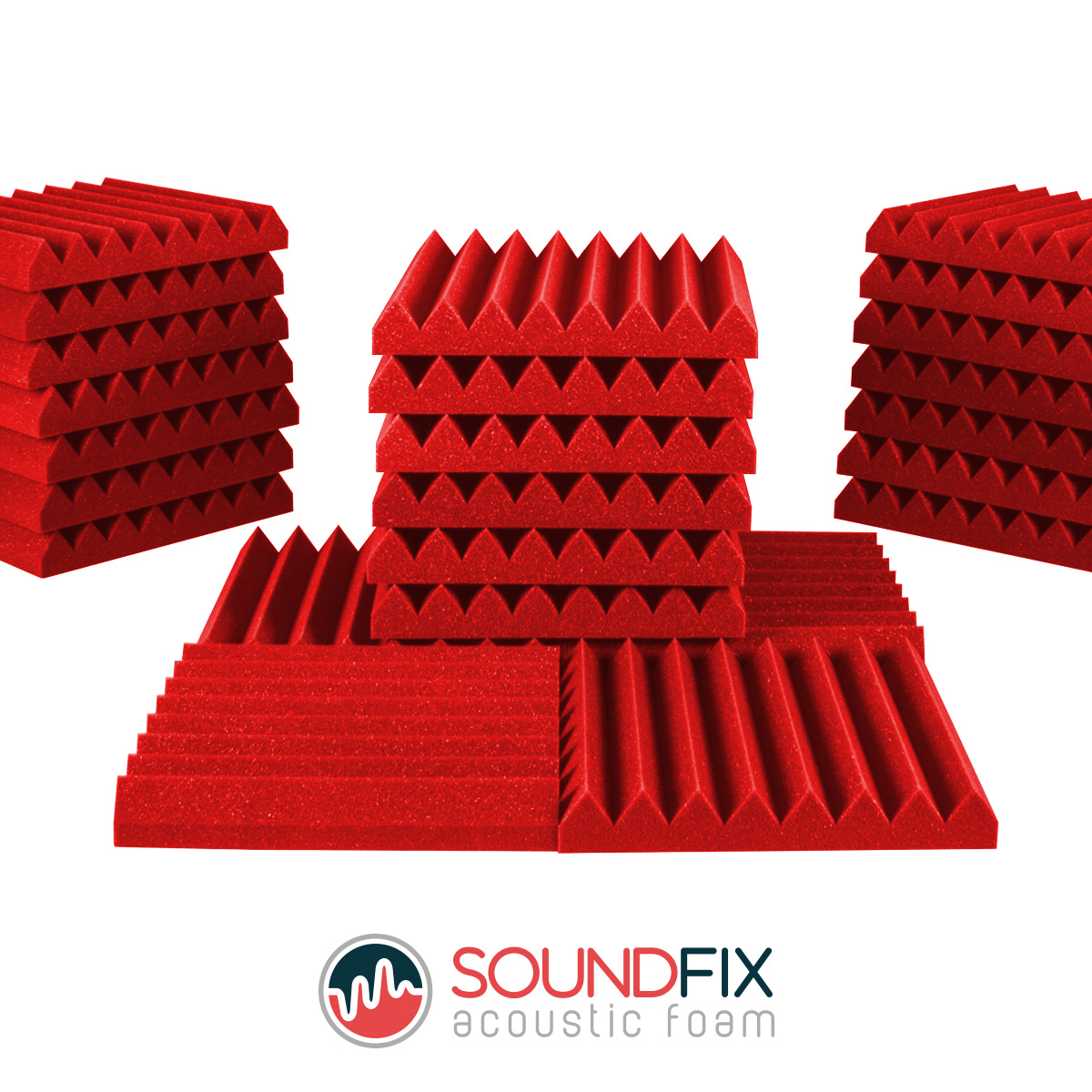 red acoustic foam panels