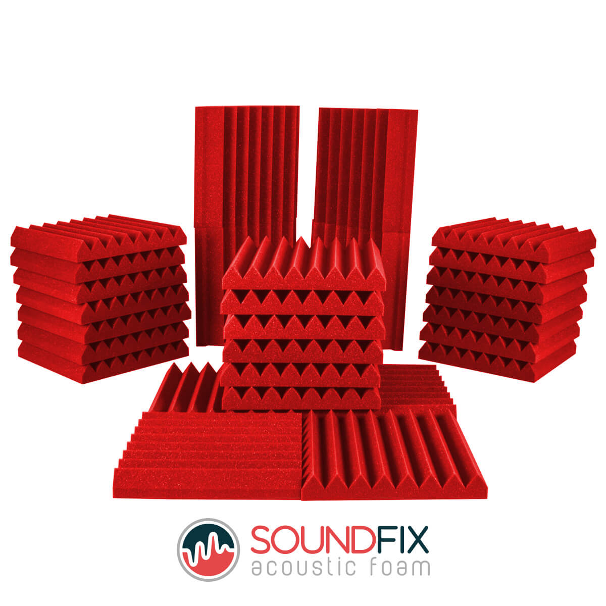 red acoustic room kit tiles and bass traps